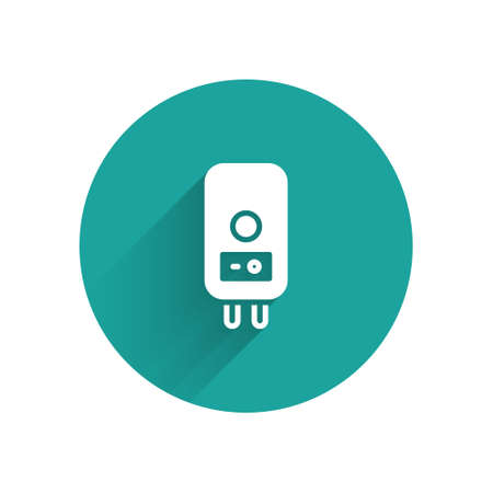 White Electric boiler for heating water icon isolated with long shadow. Green circle button. Vector