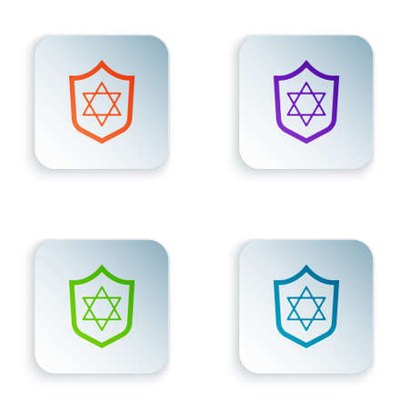 Color Shield with Star of David icon isolated on white background. Jewish religion symbol. Symbol of Israel. Set colorful icons in square buttons. Vector