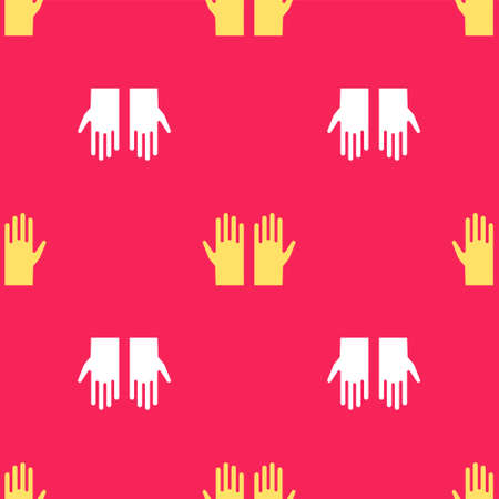 Yellow Medical rubber gloves icon isolated seamless pattern on red background. Protective rubber gloves. Vector
