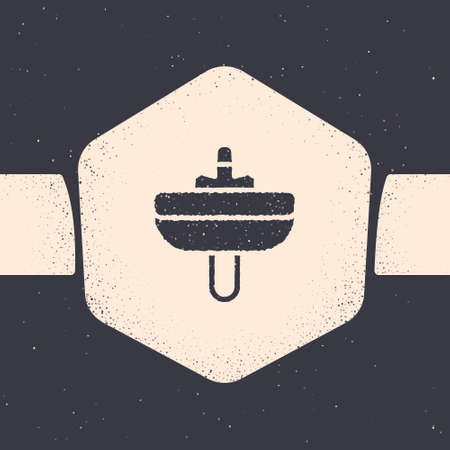 Grunge Washbasin with water tap icon isolated on grey background. Monochrome vintage drawing. Vector
