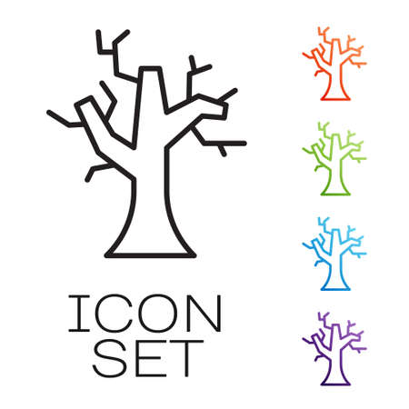 Black line Withered tree icon isolated on white background. Bare tree. Dead tree silhouette. Set icons colorful. Vector