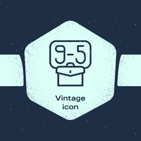 Grunge line From 9:00 to 5:00 job icon isolated on blue background. Concept meaning work time schedule daily routine classic traditional employment. Monochrome vintage drawing. Vector