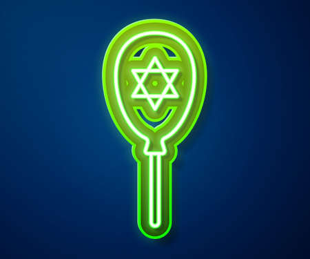 Glowing neon line Balloons with ribbon with star of david icon isolated on blue background. Balloon with israel flag. Vector
