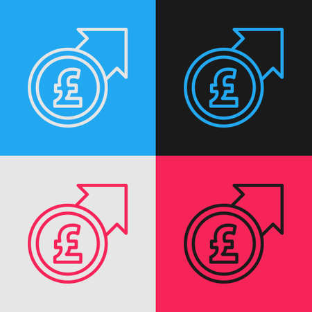 Pop art line Financial growth and pound sterling coin icon isolated on color background. Increasing revenue. Vector