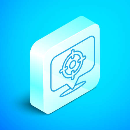 Isometric line Target sport icon isolated on blue background. Clean target with numbers for shooting range or shooting. Silver square button. Vector