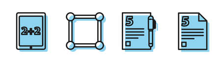 Set line Open book, Calculation, Chalkboard with diagram and Infinity icon. Vector