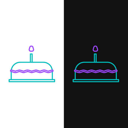 Line Cake with burning candles icon isolated on white and black background. Happy Birthday. Colorful outline concept. Vector