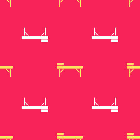 Yellow Massage table icon isolated seamless pattern on red background. Vector