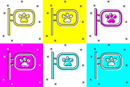 Set Pet grooming icon isolated on color background. Pet hair salon. Barber shop for dogs and cats. Vector