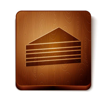 Brown Cake icon isolated on white background. Happy Birthday. Wooden square button. Vector