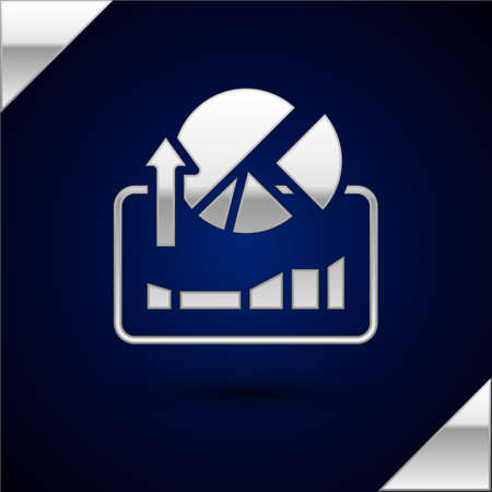 Silver Stocks market growth graphs and money icon isolated on dark blue background. Monitor with stock charts arrow on screen. Vector