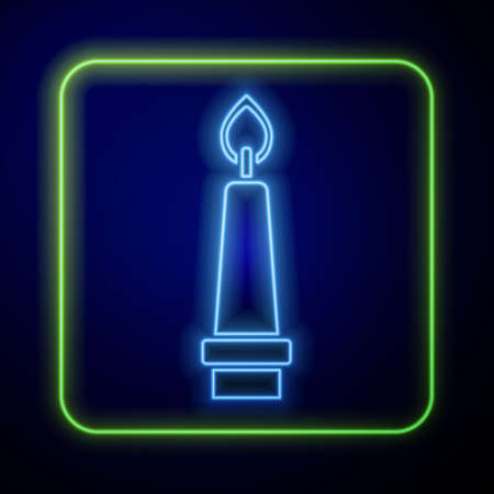Glowing neon Burning candle in candlestick icon isolated on blue background. Old fashioned lit candle. Cylindrical candle stick with burning flame. Vector