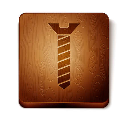Brown Metallic screw icon isolated on white background. Wooden square button. Vector.  イラスト・ベクター素材