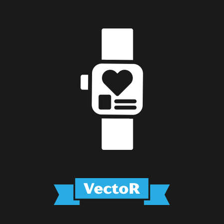 White Smart watch showing heart beat rate icon isolated on black background. Fitness App concept. Vector