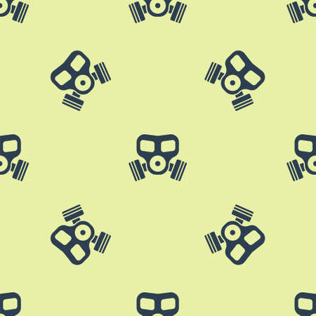 Blue Gas mask icon isolated seamless pattern on yellow background. Respirator sign. Vector