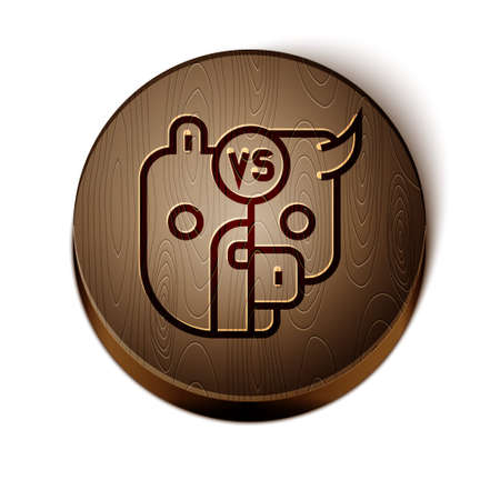Brown line Bull and bear symbols of stock market trends icon isolated on white background. The growing and falling market. Wild Animals. Wooden circle button. Vector
