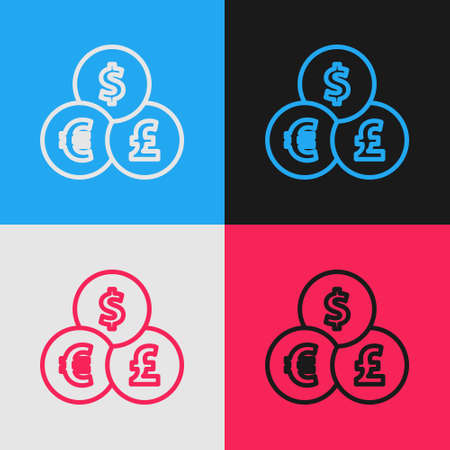 Pop art line Currency exchange icon isolated on color background. Cash transfer symbol. Banking currency sign. Vector