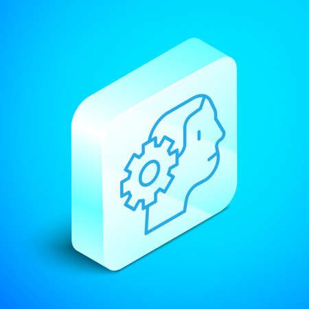 Isometric line Humanoid robot icon isolated on blue background. Artificial intelligence, machine learning, cloud computing. Silver square button. Vector.