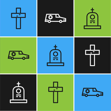 Set line Christian cross, Grave with tombstone and Hearse car icon. Vector