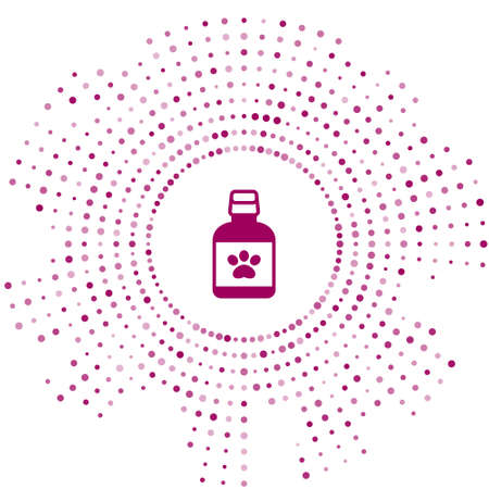 Purple Dog medicine bottle icon isolated on white background. Container with pills. Prescription medicine for animal. Abstract circle random dots. Vector