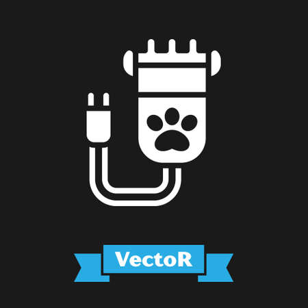White Hair clipper accessories for pet grooming icon isolated on black background. Vector