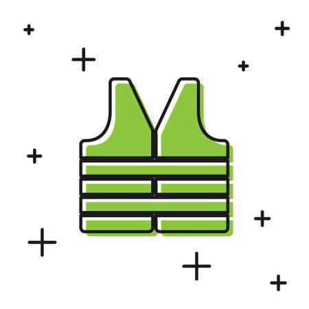 Black Life jacket icon isolated on white background. Life vest icon. Extreme sport. Sport equipment. Vector