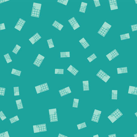 Green Chocolate bar icon isolated seamless pattern on green background. Vector