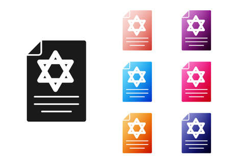 Black Torah scroll icon isolated on white background. Jewish Torah in expanded form. Star of David symbol. Old parchment scroll. Set icons colorful. Vector Illustration