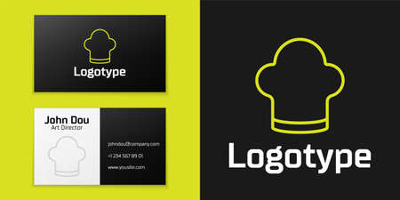 Logotype line Chef hat icon isolated on black background. Cooking symbol. Cooks hat. Logo design template element. Vector
