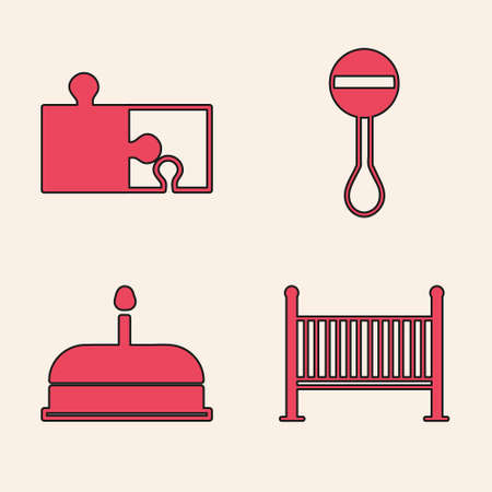 Set Baby crib cradle bed, Piece of puzzle, Rattle baby toy and Cake with burning candles icon. Vector