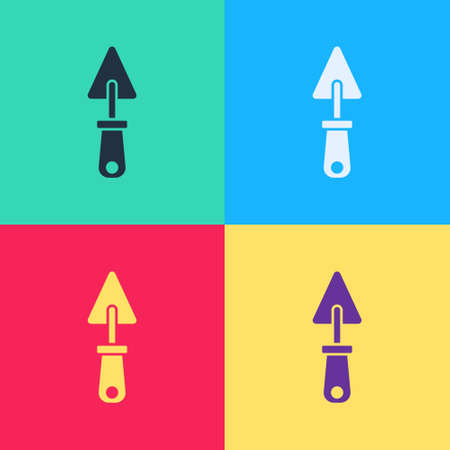 Pop art Trowel icon isolated on color background. Vector 矢量图像