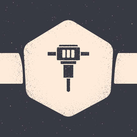 Grunge Construction jackhammer icon isolated on grey background. Monochrome vintage drawing. Vector