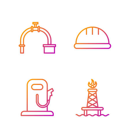 Set line Oil rig with fire, Petrol or gas station, Industry pipe and valve and Worker safety helmet. Gradient color icons. Vector