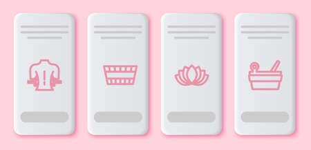 Set line Massage, Sauna bucket, Lotus flower and and ladle. White rectangle button. Vector