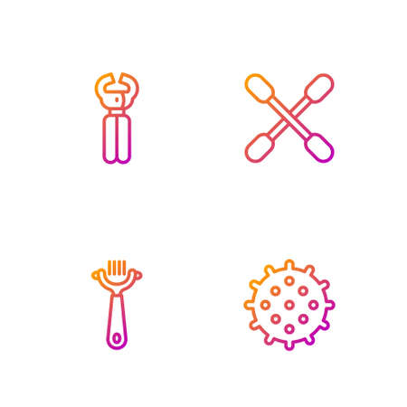 Set line Ball, Hair brush for dog and cat, Pet nail clippers and Cotton swab ears. Gradient color icons. Vector