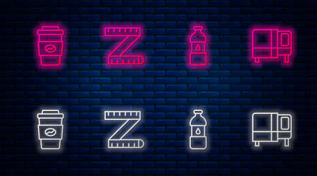 Set line Tape measure, Bottle of water, Coffee cup to go and Bed. Glowing neon icon on brick wall. Vector
