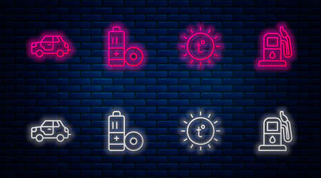 Set line Battery, Sun, Car and Petrol or gas station. Glowing neon icon on brick wall. Vector