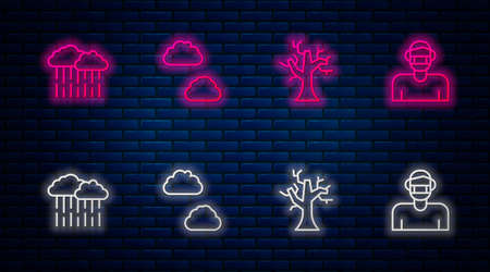 Set line Cloud, Withered tree, with rain and Face protective mask. Glowing neon icon on brick wall. Vector