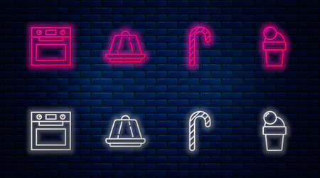 Set line Pudding custard, Christmas candy cane, Oven and Ice cream. Glowing neon icon on brick wall. Vector