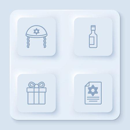 Set line Jewish kippah, wine bottle, Gift box and Torah scroll. White square button. Vector
