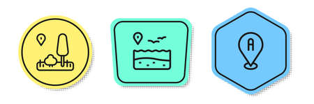 Set line City map navigation, Location with beach and . Colored shapes. Vector