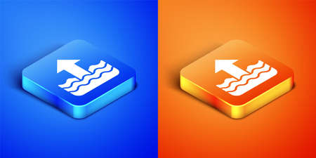 Isometric Rise in water level icon isolated on blue and orange background. Square button. Vector
