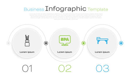 Set line Aroma diffuser, Spa salon and Massage table. Business infographic template. Vector 向量圖像