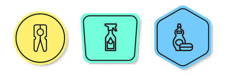 Set line Clothes pin, Cleaning spray bottle and Dishwashing liquid. Colored shapes. Vector 矢量图像