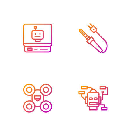 Set line Robot, Drone, and Soldering iron. Gradient color icons. Vector