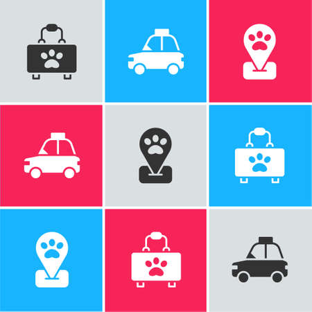 Set Pet first aid kit, car taxi and Location pet grooming icon. Vector