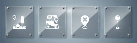 Set Push pin, Location with cross mark, City map navigation and . Square glass panels. Vector