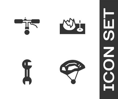 Set Bicycle helmet, handlebar, Wrench spanner and on street ramp icon. Vector