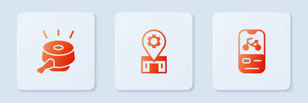 Set Bicycle repair service, bell and rental mobile app. White square button. Vector