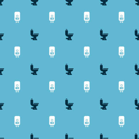 Set Toilet bowl and Electric boiler on seamless pattern. Vector